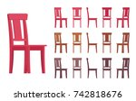 chair interior set. traditional ... | Shutterstock .eps vector #742818676