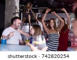 group of people clubbing in the ... | Shutterstock . vector #742820254