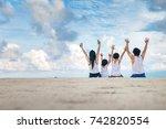 happy family enjoying on the...   Shutterstock . vector #742820554
