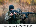 the team of soldiers engaged in ... | Shutterstock . vector #742824163