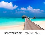 wooden pier with a seaplane in... | Shutterstock . vector #742831420