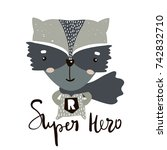 cute cartoon little raccoon... | Shutterstock .eps vector #742832710