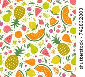 colorful vector seamless... | Shutterstock .eps vector #742832803