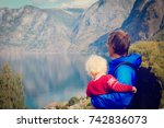 father and child travel in... | Shutterstock . vector #742836073