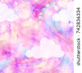 unicorn galaxy cloud and... | Shutterstock . vector #742836334