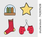holiday icons  patches ... | Shutterstock .eps vector #742839658