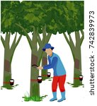 agriculturist cut rubber tree... | Shutterstock .eps vector #742839973