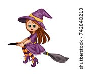 cute cartoon witch illustration ... | Shutterstock .eps vector #742840213