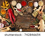 spices on wooden background.... | Shutterstock . vector #742846654