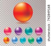 ten abstract color spheres ... | Shutterstock .eps vector #742849168