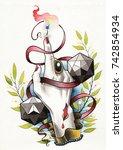 watercolor handmade artwork on... | Shutterstock . vector #742854934