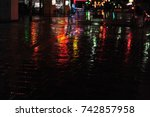 colorful neon light reflections ... | Shutterstock . vector #742857958