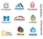 real estate and building logo... | Shutterstock .eps vector #742858753
