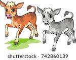calf   cartoon | Shutterstock .eps vector #742860139
