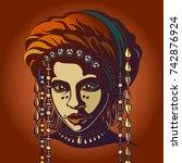portrait of an african native....   Shutterstock .eps vector #742876924