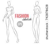 women's figure sketch.... | Shutterstock .eps vector #742878628