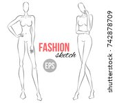 women's figure sketch.... | Shutterstock .eps vector #742878709