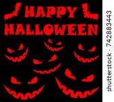 happy halloween banner with... | Shutterstock .eps vector #742883443