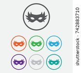 simple carnaval mask icon. flat ... | Shutterstock .eps vector #742883710