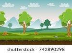 flat cartoon vector seamless...   Shutterstock .eps vector #742890298