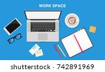 work space  top view of a desk... | Shutterstock .eps vector #742891969