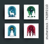 set of christmas  new year... | Shutterstock .eps vector #742892110