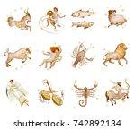 set of twelve signs of the... | Shutterstock . vector #742892134