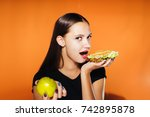a young beautiful girl wants to ... | Shutterstock . vector #742895878