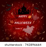 happy halloween. vector card. | Shutterstock .eps vector #742896664