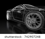 car vehicle 3d blueprint mesh... | Shutterstock . vector #742907248