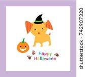 happy halloween greeting with... | Shutterstock .eps vector #742907320