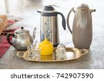 traditional serving tea and... | Shutterstock . vector #742907590