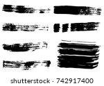 grunge vector brush strokes.... | Shutterstock .eps vector #742917400