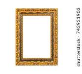 golden wooden frame on a white... | Shutterstock . vector #742921903