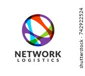network logistic company vector ... | Shutterstock .eps vector #742922524