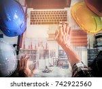 double exposure architect... | Shutterstock . vector #742922560