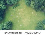 people at a picnic in a summer...   Shutterstock . vector #742924240