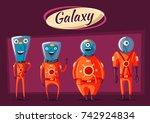 friendly aliens. ufo. retro... | Shutterstock . vector #742924834
