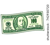 cartoon stylized 100 dollar... | Shutterstock .eps vector #742930720