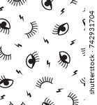 seamless pattern with eyes ...   Shutterstock .eps vector #742931704