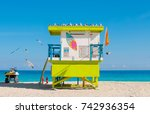 lifeguard tower in south beach  ... | Shutterstock . vector #742936354