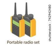 portable radio icon. isometric... | Shutterstock .eps vector #742942480