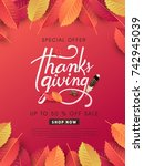 calligraphy of thanksgiving day ... | Shutterstock .eps vector #742945039