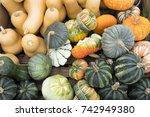 Closeup Of Several  Pumpkins I...