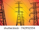 silhouette electricity pole ... | Shutterstock . vector #742952554