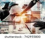 double exposure architect... | Shutterstock . vector #742955800