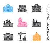 city buildings glyph icons set. ... | Shutterstock . vector #742962118