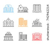 city buildings linear icons set.... | Shutterstock . vector #742962214
