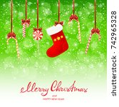 lettering merry christmas and... | Shutterstock .eps vector #742965328