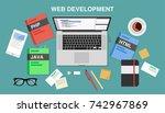 web development  top view of a... | Shutterstock .eps vector #742967869